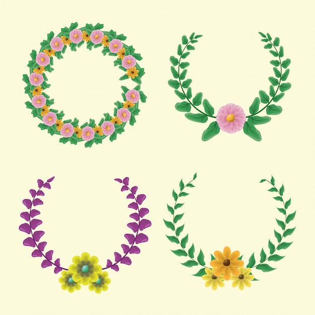 Conjunto de 4 corona de laurel con colores verde y morado con flores amarillas y rosadas vector gratuito
