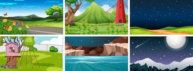 Conjunto de 6 escenas de naturaleza en parques de día y de noche. vector gratuito