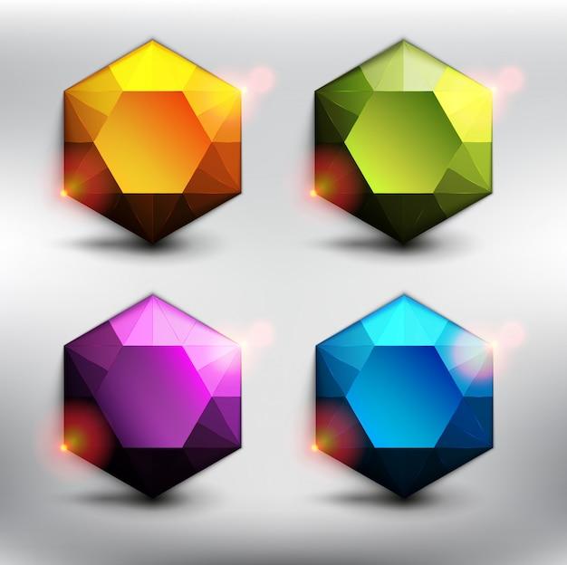 Conjunto de 6 gemas de colores. diamantes de baja poli en 6 colores diferentes. aislado en el fondo blanco. Vector Premium