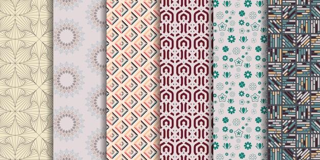 Conjunto de 6 lindos patrones sin costuras. Vector Premium