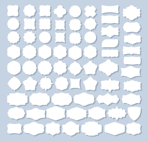 Conjunto de 70 formas de etiquetas retro para diseño Vector Premium