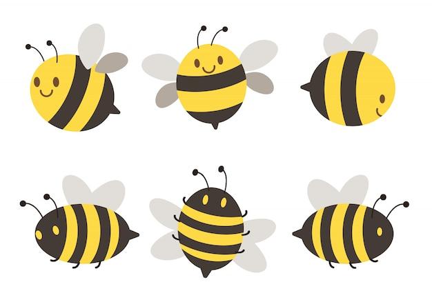 Conjunto de abejas de personaje Vector Premium