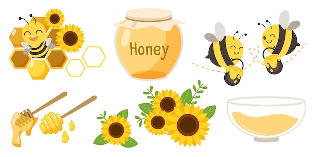 Conjunto de abejas, tarros de miel y flores Vector Premium