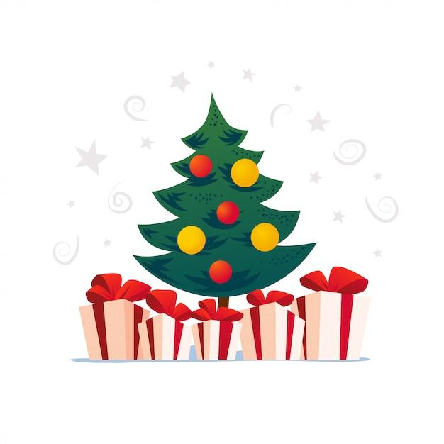 Conjunto de abeto de año nuevo, presente y cajas de regalo sobre fondo blanco. año nuevo, feliz navidad, decoración navideña. bueno para tarjetas de felicitación, flayer. estilo de dibujos animados. Vector Premium