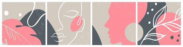 Conjunto abstracto con cara de mujer, silueta, elementos florales una línea de dibujo. Vector Premium