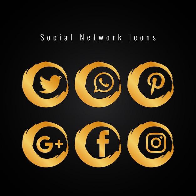 60f6d4c923fbc Conjunto abstracto de iconos de redes sociales dorados