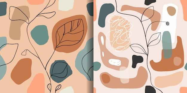 Conjunto abstracto con patrones sin fisuras, fondos de pantalla de diseño de moda Vector Premium