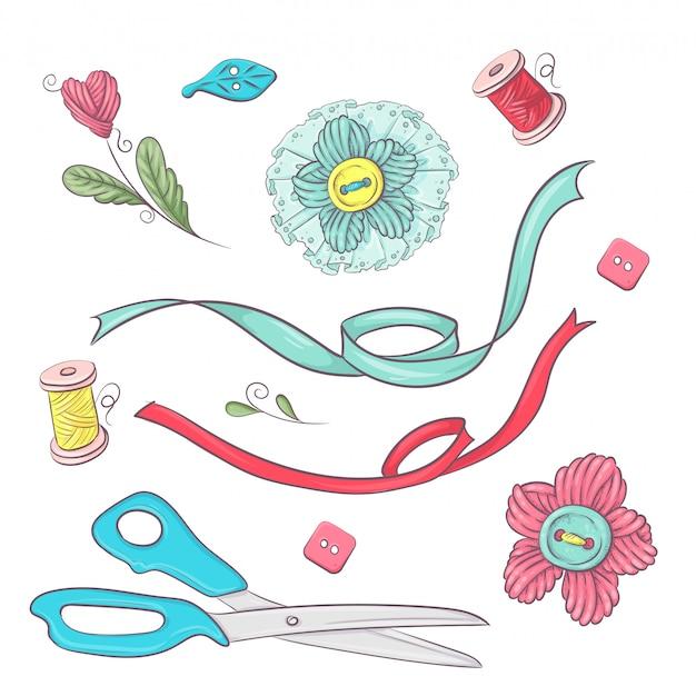 Conjunto de accesorios de costura maniquí. dibujo a mano. Vector Premium