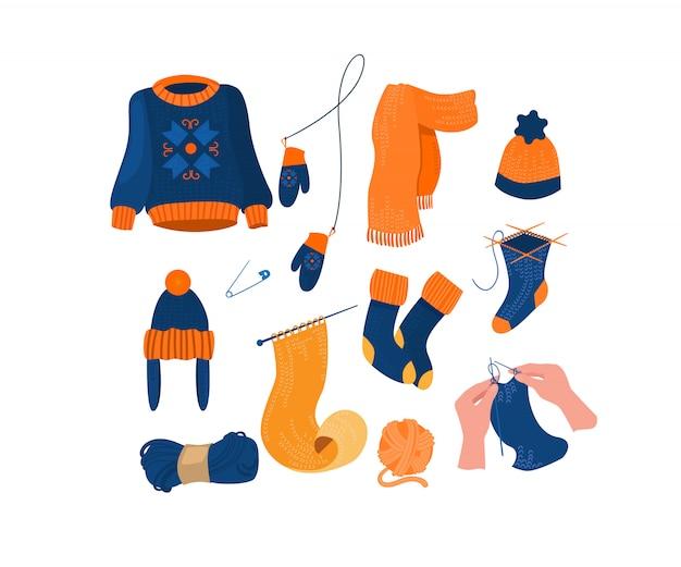 Conjunto de accesorios y ropa de punto cálido vector gratuito