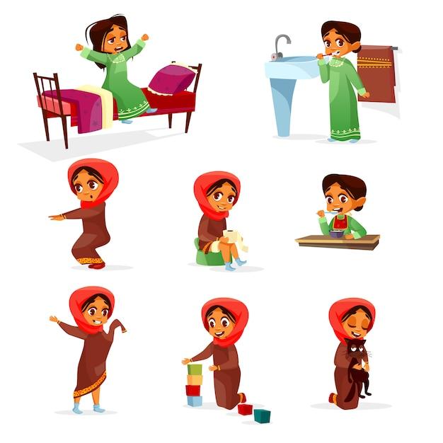 Conjunto de actividad de rutina de mañana de dibujos animados niña árabe. vector gratuito