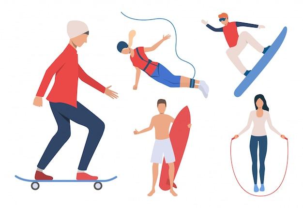 Conjunto de actividades al aire libre. hombres y mujeres de snowboard. vector gratuito