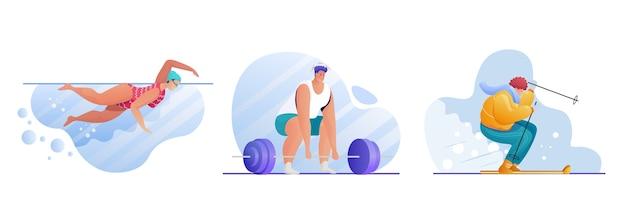 Conjunto de actividades deportivas. personajes de deportistas. natación, levantamiento de pesas, esquí. entrenamiento en piscina. culturista con barra. ejercicios al aire libre. estilo de vida activo Vector Premium