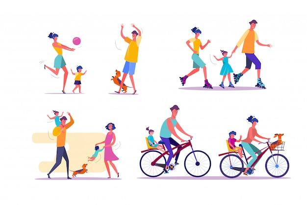 Conjunto de actividades familiares al aire libre vector gratuito