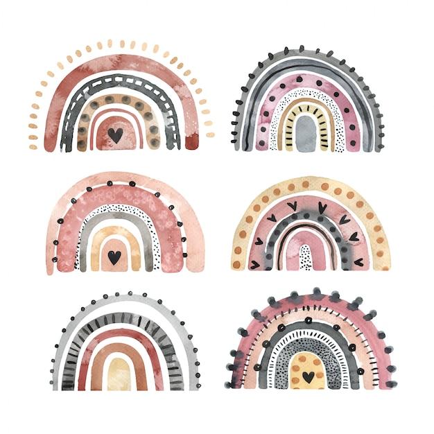 Conjunto de acuarela arco iris con estilo aislado en un fondo blanco. elementos dibujados a mano para logotipo, decoración infantil, textil y otros fines. Vector Premium