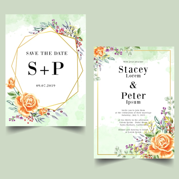 Conjunto de acuarela rosa naranja invitación de boda Vector Premium