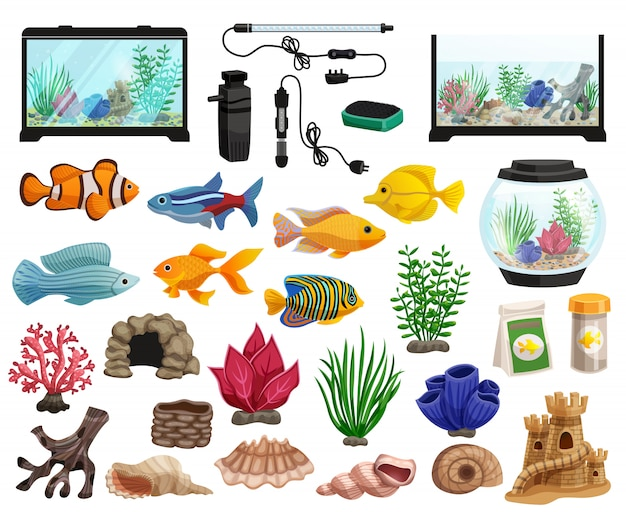 Conjunto de acuarios y peces de acuario vector gratuito