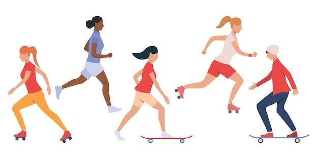 Conjunto de adolescentes de skate y patinaje. vector gratuito