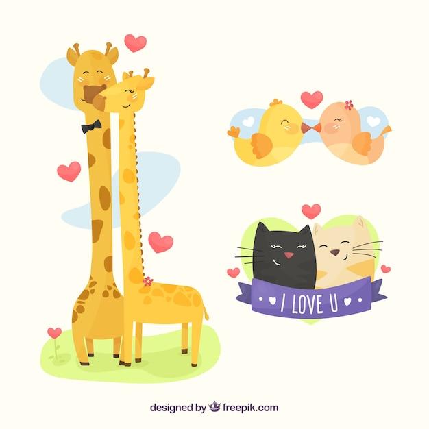 Conjunto adorable de animales enamorados vector gratuito
