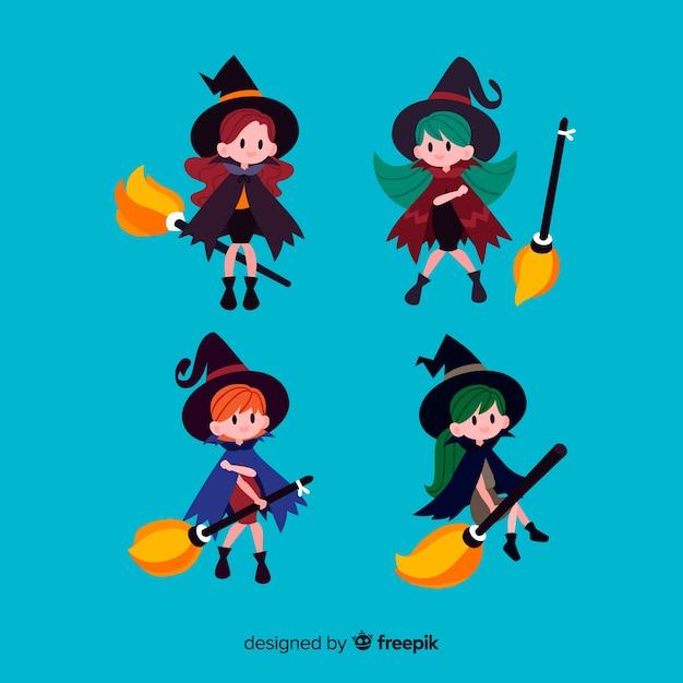 Conjunto adorable de brujas de halloween con diseño plano vector gratuito