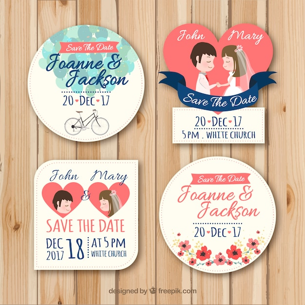 Conjunto adorable de etiquetas de boda Vector Gratis