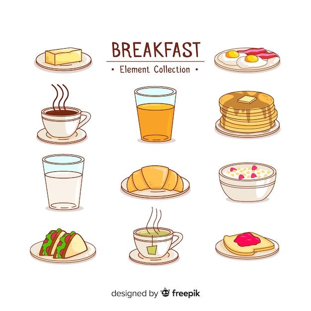 Conjunto adorable de desayunos dibujados a mano vector gratuito