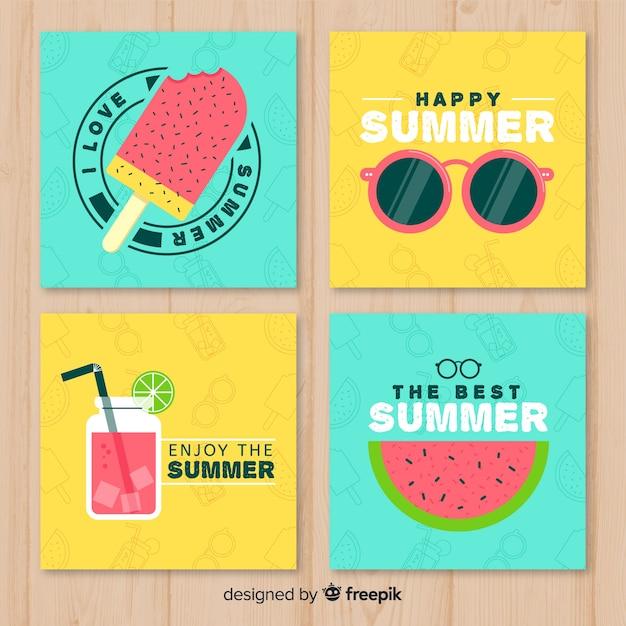 Conjunto adorable de plantillas de tarjetas de verano vector gratuito