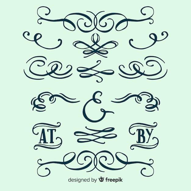 Conjunto de adornos de boda caligráficos vector gratuito