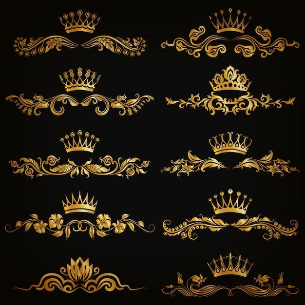 Conjunto de adornos de damasco vector con coronas Vector Premium