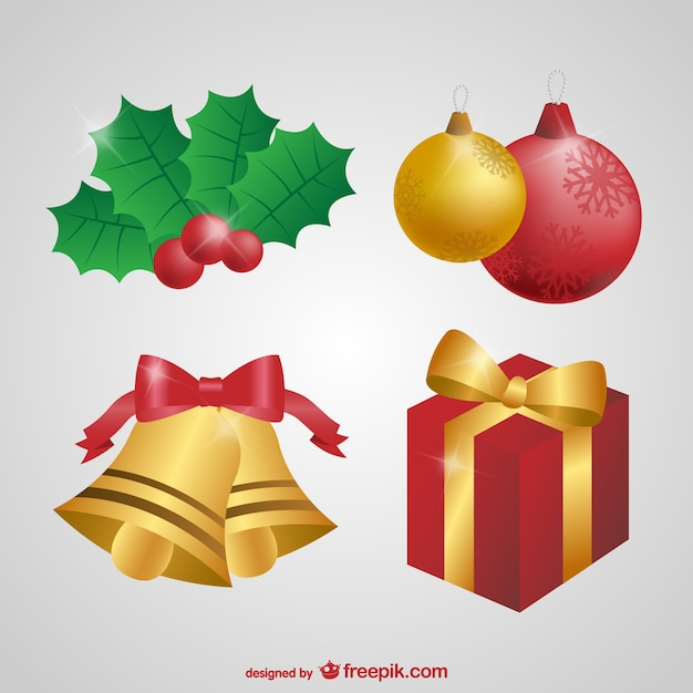 Conjunto De Adornos De Navidad Descargar Vectores Gratis - Adronos-de-navidad