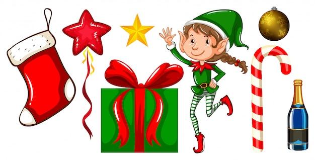 Conjunto de adornos navideños en blanco vector gratuito
