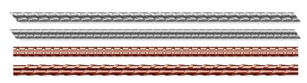 Conjunto aislado de barras de metal, barras de acero y cobre vector gratuito