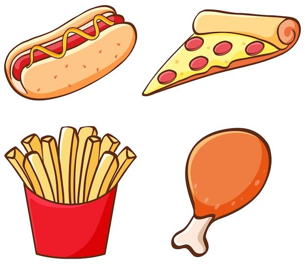 Conjunto aislado de comida rápida vector gratuito