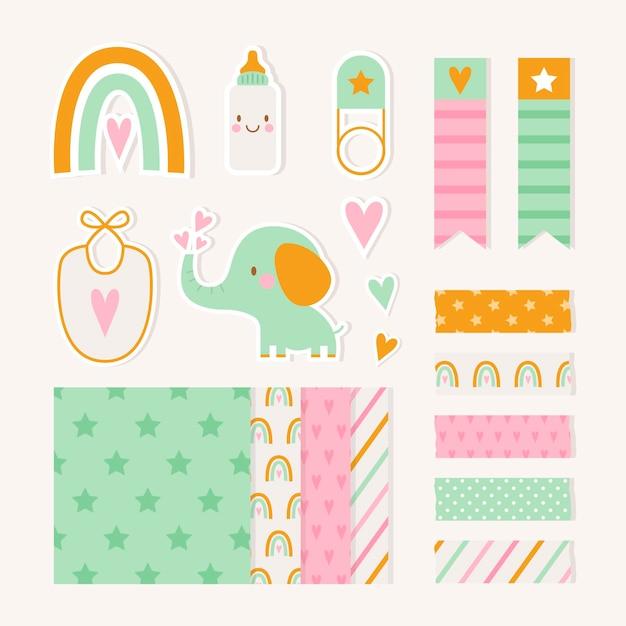 Conjunto de álbum de recortes de baby shower vector gratuito