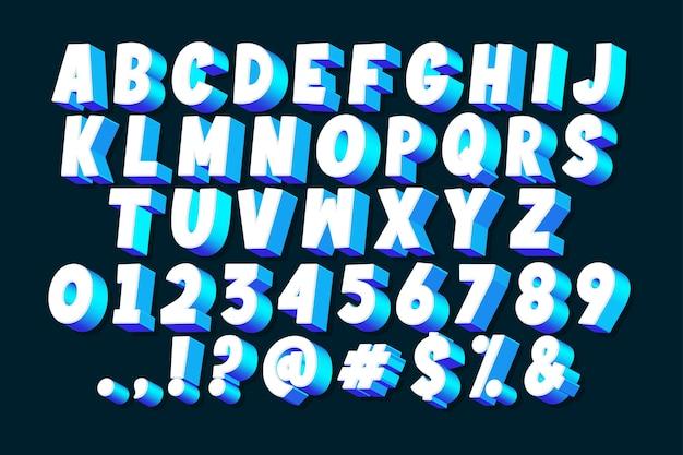 Conjunto de alfabeto cómico 3d vector gratuito