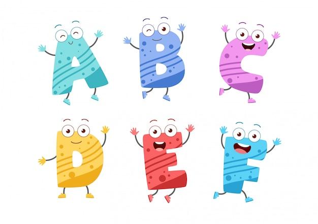 Conjunto de alfabeto de niño lindo Vector Premium