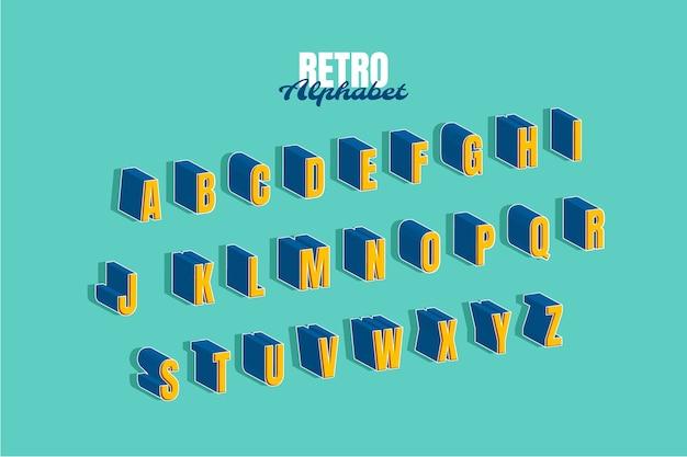 Conjunto de alfabeto retro 3d vector gratuito