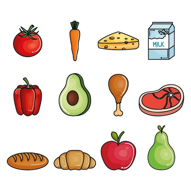 Conjunto De Alimentos Saludables Descargar Vectores Premium
