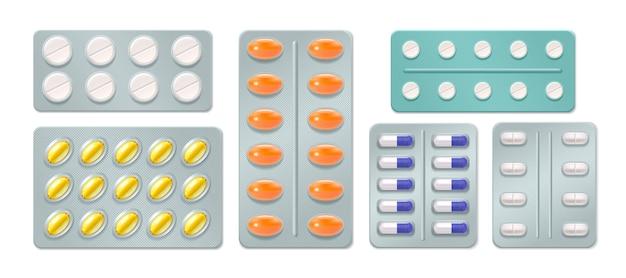 Conjunto de ampollas con píldoras y cápsulas medicinales vector gratuito