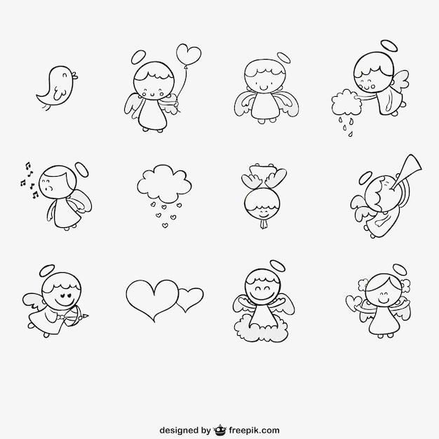 Conjunto de ángeles dibujados a mano vector gratuito