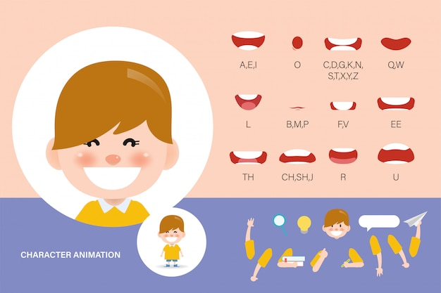 Conjunto de animación de boca para niños. sincronización de labios colección personaje animación niño. Vector Premium