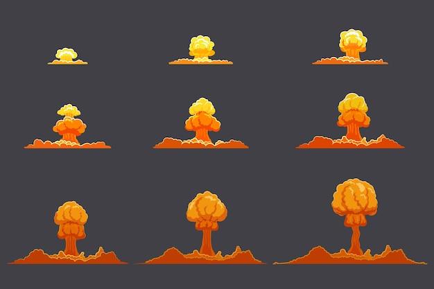 Conjunto de animación de explosión plana brillante vector gratuito