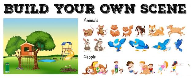 Conjunto de animales aislados y personas con escena del patio vector gratuito
