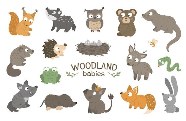 Conjunto de animales bebé bosque plano dibujado a mano. Vector Premium