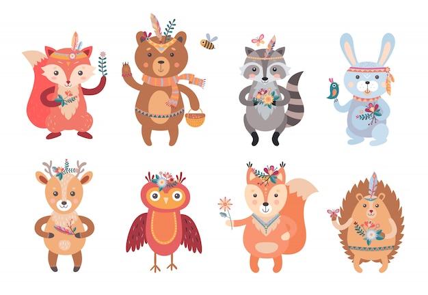 Conjunto de animales boho de dibujos animados vector gratuito
