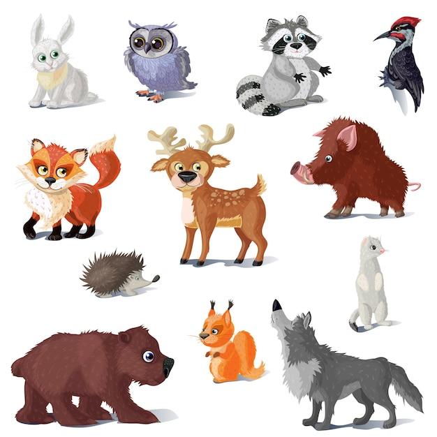 Conjunto de animales del bosque de dibujos animados Vector Premium