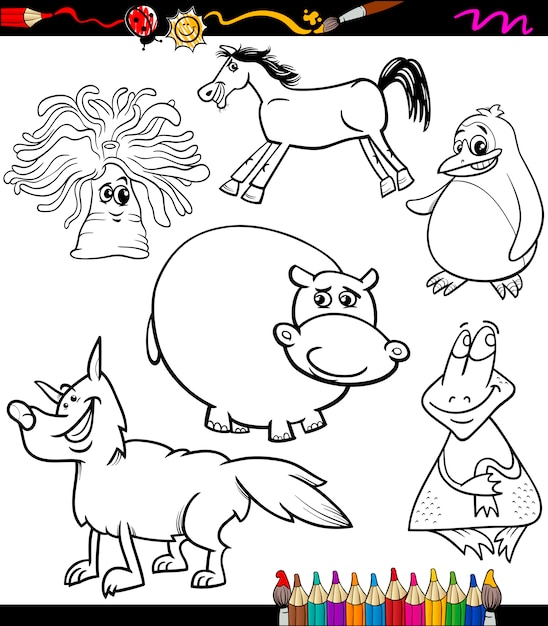 Conjunto De Animales Dibujos Animados Libro Para Colorear Vector