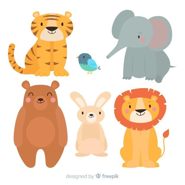 Conjunto de animales de dibujos animados lindo vector gratuito