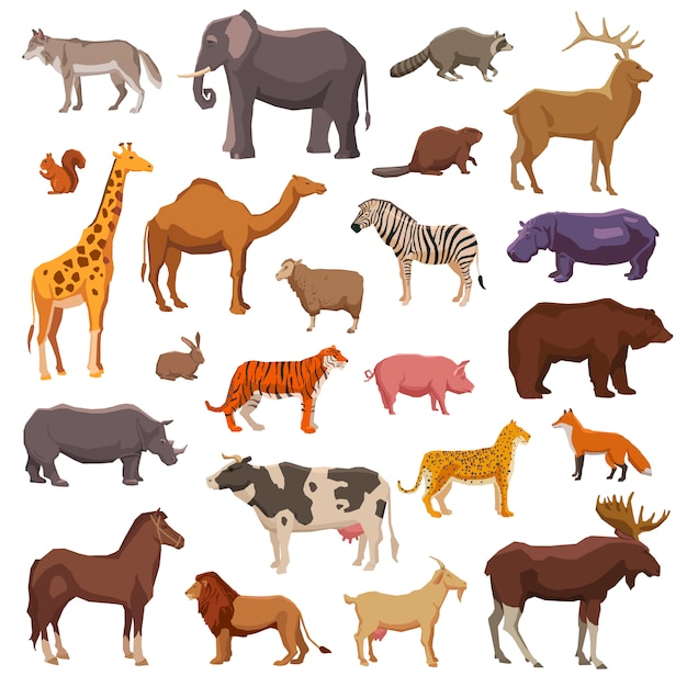 Conjunto de animales grandes vector gratuito
