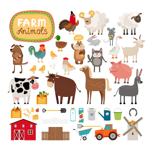 Conjunto de animales de granja y accesorios agrícolas. vector gratuito