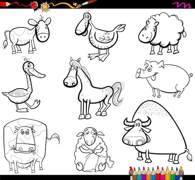 Conjunto de animales de granja para colorear   Descargar Vectores ...